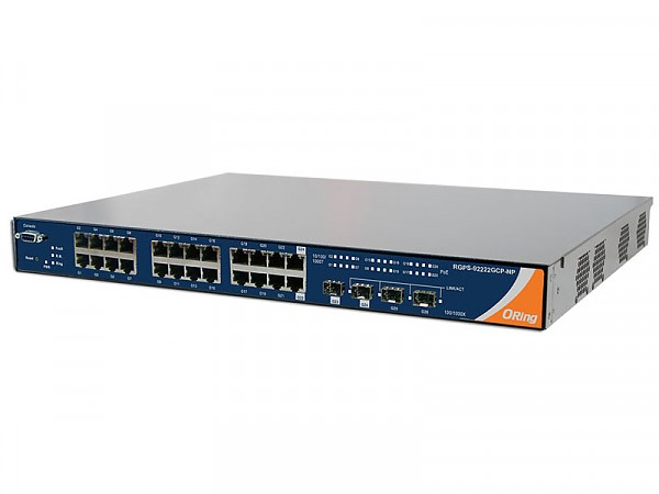 "Managed switch, 22x 10/1000 RJ-45 PoE + 2x 10/100/1000 COMBO Ports with SFP + 2 slide-in SFP slots, O/Open-Ring <30ms, 19"" (ORing RGPS-92222GCP-NP-LP)"