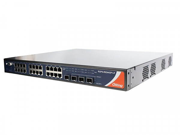 Managed switch, 24x 10/1000 RJ-45 PoE + 4 1G/10G SFP+ slots, O/Open-Ring <30ms (ORing RGPS-9244GP+-P)