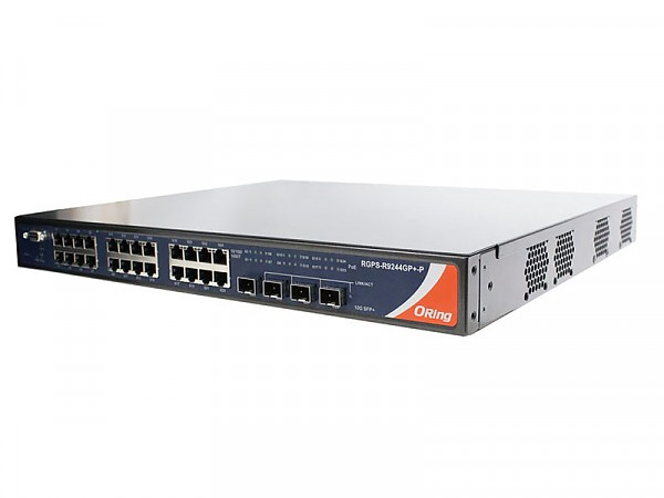 Managed switch, 24x 10/1000 RJ-45 PoE + 4 1G/10G SFP+ slots, O/Open-Ring <30ms (ORing RGPS-9244GP+-LP)