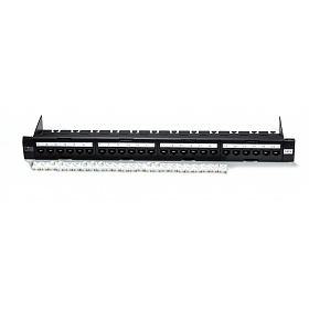 "Patch panel, 24-port, UTP, cat. 6, 1U, 19"", toolless, w/cable holder"