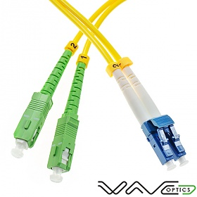 Fiber optic patch cord, SC/APC-LC/UPC, SM, 9/125 duplex, G652D fiber 3.0mm, L=15m