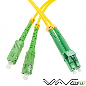 Fiber optic patch cord, SC/APC-LC/APC, SM, 9/125 duplex, G652D fiber 3.0mm, 15m