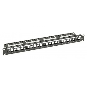 "Patch panel, 24-port, keystone, 1U, 19"", blank, w/cable holder"