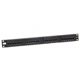 "24 port UTP patch panel, cat. 5e, 1U, 19"", IDC 110"