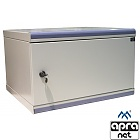 "Wall-mounted 19"" cabinet,  6U, DecoVARI, steel door, 320 x 550 x 450 mm, adjustable mounting profiles"