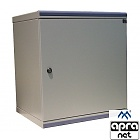 "15U rack cabinet, 19"", wall-mounted, steel door, 740x550x450mm, adjustable mounting profiles"