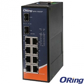 ORing IGPS-1082GP, Industrial Unmanaged switch, 8x 10/1000 RJ-45 PoE + 2x 1000 SFP, slim housing