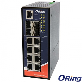 ORing IGPS-9084GP-LA, Industrial Managed switch, 8x 10/1000 RJ-45 PoE + 4 slide-in SFP slots, O/Open-Ring <20ms, slim housing