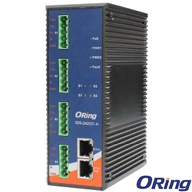 ORing IDS-242GT-I+, Industrial Device server, 4x RS-422/485(2KV isolation) + 2x 10/100/1000 RJ-45 (LAN) PoE