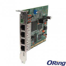 ICS-4040, Industrial 4-port Lite-managed PCI Ethernet Switch Card, 4x 10/100 RJ-45, O-Ring <10ms, PCI slot