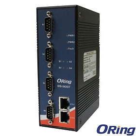 ORing IDS-342GT, Industrial Device server, DIN, 4x RS-232/422/485 + 2x 10/100/1000 RJ-45 (LAN)