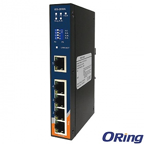 IES-2050A, Industrial 5-port slim type lite-managed Ethernet switch, DIN, 5x 10/100 RJ-45, O-Ring <10ms
