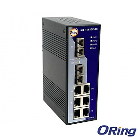 IES-1062GF-SS-SC, Industrial 8-port Unmanaged Ethernet Switch, DIN, 6x 10/100 RJ-45 + 2x 1000 SM SC