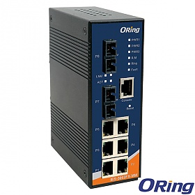 IES-3062FX-MM-SC, Industrial 8-port managed Ethernet switch, DIN, 6x 10/100 RJ-45 + 2x100 MM SC, O/Open-Ring <10ms