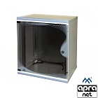 "12U rack cabinet, 19"", wall-mounted, glass door, 610x550x450mm, adjustable mounting profiles"