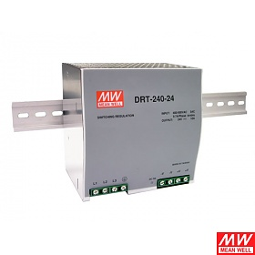 Power supply 240W 24VDC, three phase, DIN TS35 (Mean Well DRT-240-24)