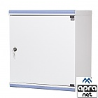 "12U rack cabinet, 19"", wall-mounted, steel door, 610x550x450mm, adjustable mounting profiles"