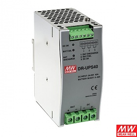 DR-UPS40, Battery controller for DIN Rail UPS system, 24VDC, 40A max, DIN TS35 (Mean Well DR-UPS40)