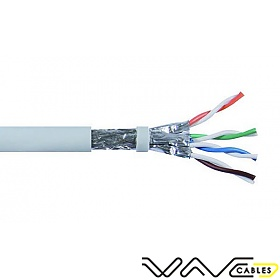 SFTP Cat6A Network Cable, grey, solid copper wire 23 AWG, 305m, solid
