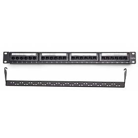"Patch panel, 24-port, UTP, cat. 5e, 1U, 19"", Dual block, w/cable holder"