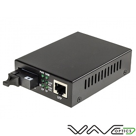 Media converter 10/100/1000 Mbps RJ-45/SC, SM 1550nm, 10km, WDM (Wave Optics, WO-KB-SWS-010K-B)