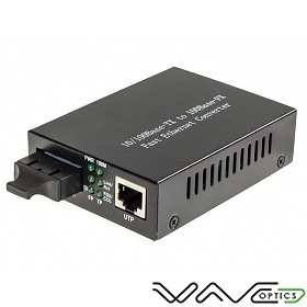 Media converter 10/100 Mbps RJ-45/SC, SM 1550nm, 40km, WDM (Wave Optics, WO-KA-SWS-040K-B)