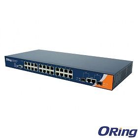 RES-3242GC-EU, Industrial Managed Switch, 24x 10/100 RJ45 Ports + 2x 1G COMBO with SFP, O/Open-Ring <10ms