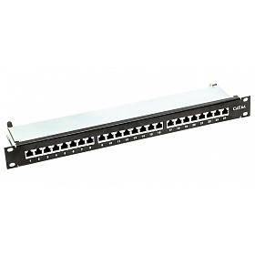 "Patch panel, 24-port, STP, cat. 6A, 1U, 19"", Krone type"