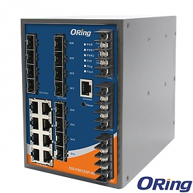 IGS-P9812GP-HV, Industrial Managed Switch, DIN, 8x 10/1000 RJ-45 + 12x100/1000 SFP w/DDM, O/Open-Ring <20ms