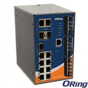 IES-P3073GC-HV, Industrial Managed Switch, DIN, 7x 10/100 RJ-45 + 3 slide-in SFP slots / RJ-45, O/Open-Ring <10ms