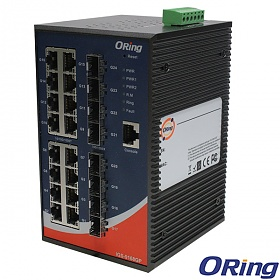 IGS-9168GP, Industrial Managed Switch, DIN, 16x 10/1000 RJ-45 + 8x100/1000 SFP w/DDM, O/Open-Ring <30ms
