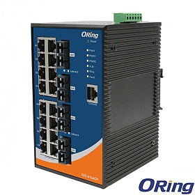 IGS-9164GF-MM-SC, Industrial Managed Switch, DIN, 16x 10/1000 RJ-45 + 4x1000 MM SC, O/Open-Ring <30ms
