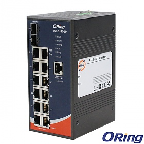 IGS-9042GP, Industrial Managed Switch, DIN, 12x 10/1000 RJ-45 + 2x100/1000 SFP w/DDM, O/Open-Ring <30ms