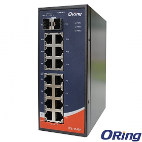 IES-1142, Industrial Unmanaged Switch, DIN, 14x 10/100 RJ-45 + 2x 100 SFP