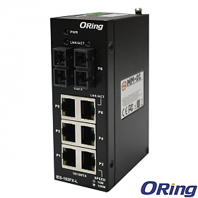 IES-162FX-SS-SC-L, Industrial Unmanaged Switch, DIN, 6x 10/100 RJ-45 + 2x 100 SS SC