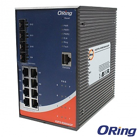 IGPS-R9084GP, Industrial Managed Switch, L3, DIN, 8x 10/1000 RJ-45 PoE + 4 slide-in SFP slots, O/Open-Ring <20ms