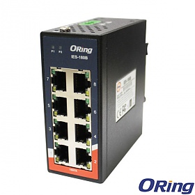 IES-180B, Industrial 8-port mini type unmanaged Ethernet switch, DIN, 8x 10/100 RJ-45, slim housing
