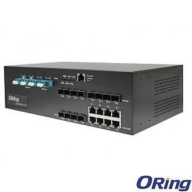 DGS-9812GP-MM-AIO_S, Industrial 20-port managed Gigabit Ethernet switch, 8x 10/1000 RJ-45 + 12x100/1000 SFP w/DDM, LC Bypass Port, O/Open-Ring <30ms