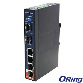 IGPS-1042GPA, Industrial 6-port slim, unmanaged Gigabit PoE Ethernet switch, DIN, 4x 10/1000 RJ-45 P.S.E. + 2x 1000 SFP
