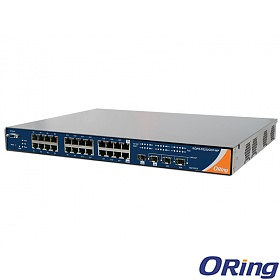 RGPS-92222GCP-NP-LP, Industrial Managed Switch, 22x 1G RJ-45 PoE + 2x 1G COMBO Ports with SFP + 2 slide-in SFP slots, O/Open-Ring <30ms, 19""