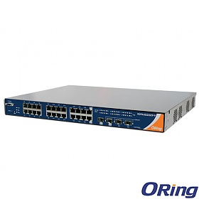 RGPS-92222GCP-NP-P, Industrial Managed Switch, 22x 1G RJ-45 PoE + 2x 1G COMBO with SFP + 2 slide-in SFP slots, O/Open-Ring <30ms, 19""