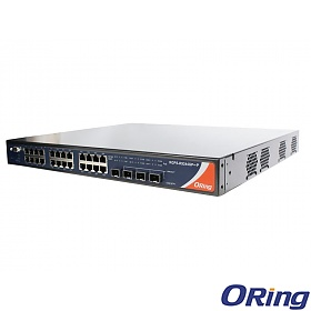 RGPS-R9244GP+-LP, Industrial Layer-3 28-port managed Gigabit PoE Ethernet switch, 24x 10/1000 RJ-45 PoE + 4 1G/10G SFP+ slots, O/Open-Ring <30ms, L3