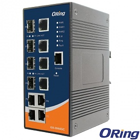 IGS-3044GC, Industrial 8-port Gigabit Managed Ethernet Switch, DIN, 4x 10/1000 RJ-45 + 4x100/1000 SFP w/DDM, O/Open-Ring <20ms