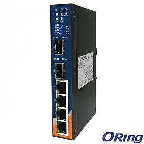 IES-2042PA, Industrial 6-port slim type lite-managed Ethernet switch, DIN, 4x 10/100 RJ-45 + 2x100 SFP, O/Open-Ring <10ms