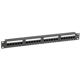 "24 port patch panel, UTP, cat. 5e, 1U, 19"", Dual-block"