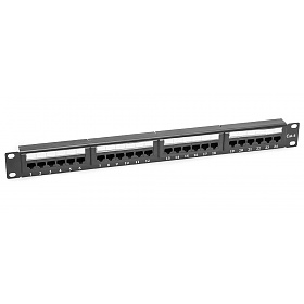 "24 port patch panel, UTP, cat. 6, 1U, 19"", Dual-block"