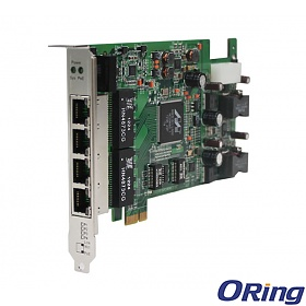 IGPCS-E140, Industrial 4-port PCIe unmanaged Gigabit PoE Ethernet switch card, 4x 10/100/1000 P.S.E. RJ-45