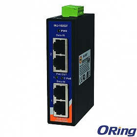 INJ-102GT, Industrial 2-port Gigabit High Power PoE Injector, DIN, 2x10/1000 RJ-45 PoE + 2x10/1000 RJ-45