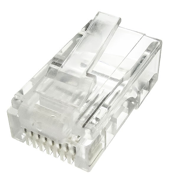 Modular male connector, 8P8C (RJ-45), round, solid, cat. 5