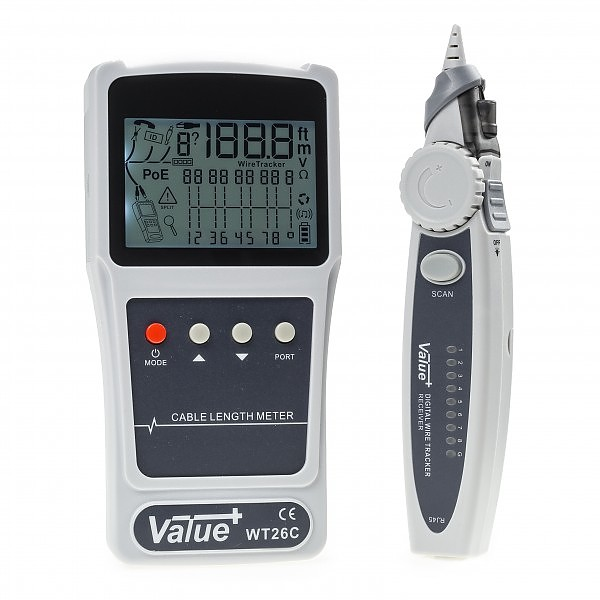 Cable tester RJ-45, w/LCD, digital wire tracker, WT26C